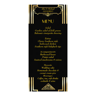 Menu Art Deco Gatsby Style, Art Deco Theme, 1920's 10 Cm X 23 Cm Rack Card