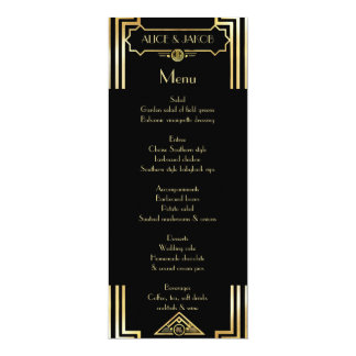 Menu Art Deco Gatsby Style, Art Deco Theme, 1920's Card