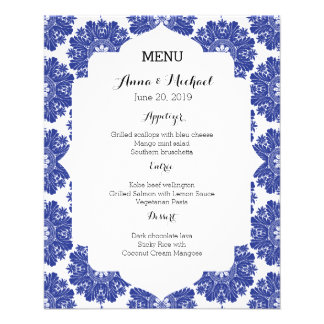 MENU Beautiful Blue & White Baroque Wedding Suite 11.5 Cm X 14 Cm Flyer