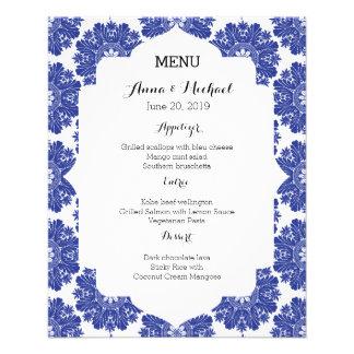 MENU Beautiful Blue & White Baroque Wedding Suite 11.5 Cm X 14 Cm Flyer