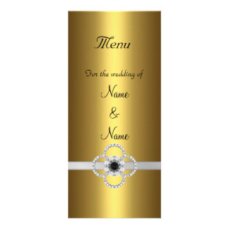 Menu Card Gold Silver Black Jewel Rack Card