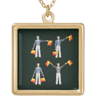 Menu cover from aboard the QE2 (colour litho) Square Pendant Necklace