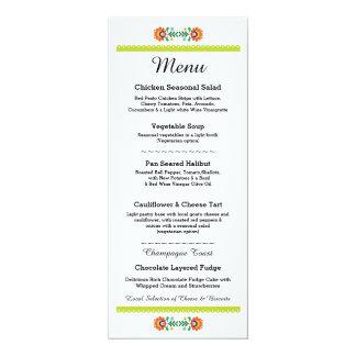 Menu Fiesta Party Mexican Wedding Lime Reception 10 Cm X 24 Cm Invitation Card