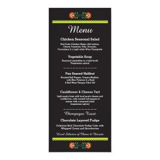 Menu Fiesta Party Mexican Wedding Reception 10 Cm X 24 Cm Invitation Card