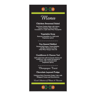 Menu Fiesta Party Mexican Wedding Reception Card