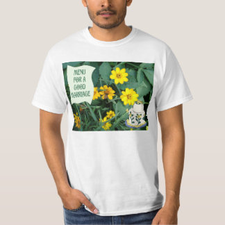 Menu for a good marriage, wedding cake and flowers t shirt