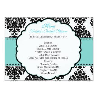 Menu for Blue Bridal Shower Damask 13 Cm X 18 Cm Invitation Card