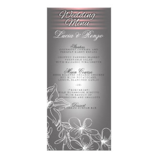 Menu in shades of gray and pink rack card