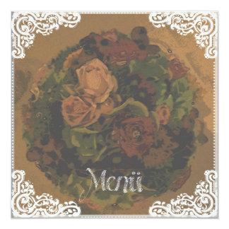 """Menu"" - map Vintage 13 Cm X 13 Cm Square Invitation Card"