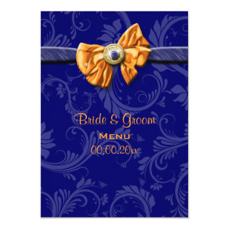 Menu - navy blue orange wedding 13 cm x 18 cm invitation card