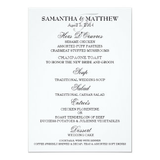 Menu template wedding engagement anniversary 5x7 paper invitation card