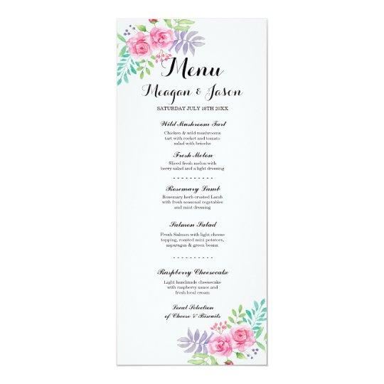 Menu Wedding Reception Elegant Floral Rose Cards