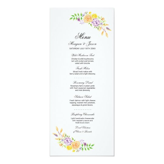 Menu Wedding Reception Purple Coral Flowers Cards