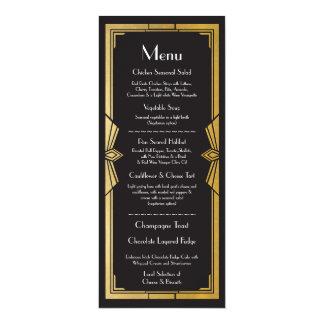 Menu Wedding Reception Rustic 1920's Art Deco 10 Cm X 24 Cm Invitation Card