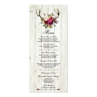 Menu Wedding Reception Rustic Antlers Stag Flroal Card