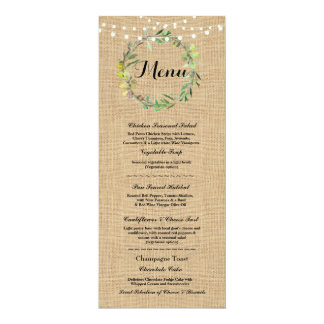 Menu Wedding Reception Rustic Burlap Floral Lights Card
