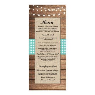 Menu Wedding Reception Rustic Burlap Wood Check 10 Cm X 24 Cm Invitation Card