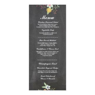 Menu Wedding Reception Rustic Chalk Floral Flowers 10 Cm X 24 Cm Invitation Card