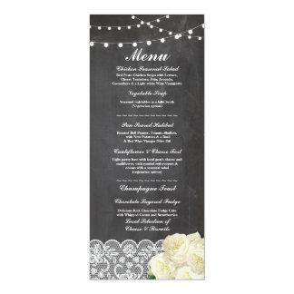 Menu Wedding Reception Rustic Chalk Lace Cards