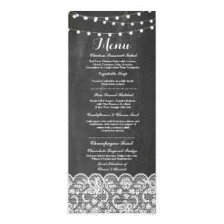 Menu Wedding Reception Rustic Chalk Lace Winter 10 Cm X 24 Cm Invitation Card