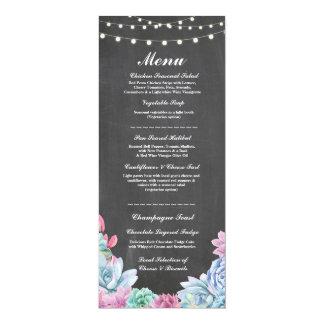 Menu Wedding Reception Rustic Chalk Succulents 10 Cm X 24 Cm Invitation Card