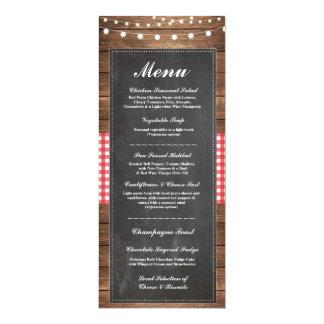 Menu Wedding Reception Rustic Chalk Wood Red Check Card