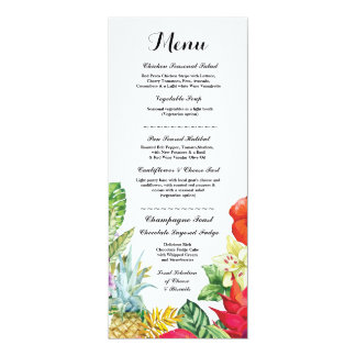 Menu Wedding Reception Rustic Luau Aloha Cards