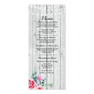 Menu Wedding Reception Rustic Red Wood Floral Card 10 Cm X 24 Cm Invitation Card