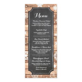 Menu Wedding Reception Rustic Snowflake Winter Card