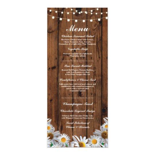 Menu Wedding Reception Rustic Wood Daisy Cards