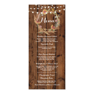 Menu Wedding Reception Rustic Wood Fall Lights Card