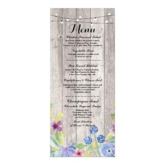 Menu Wedding Reception Rustic Wood Floral Cards 10 Cm X 24 Cm Invitation Card