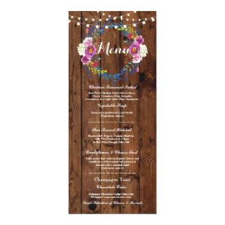 Menu Wedding Reception Rustic Wood Floral Lights Card