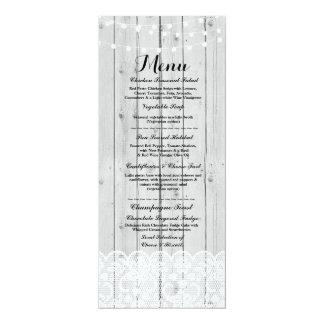 Menu Wedding Reception Rustic Wood Lace Winter Card