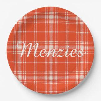 Menzies clan Plaid Scottish tartan Paper Plate