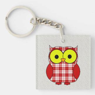 Menzies Tartan Plaid Owl Double-Sided Square Acrylic Key Ring