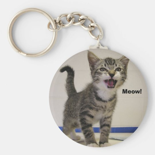 Meow! Basic Round Button Key Ring