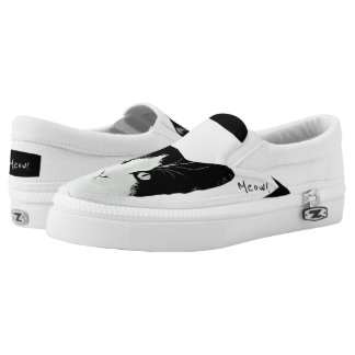 Meow Black and White Cat Slip On Shoes Printed Shoes