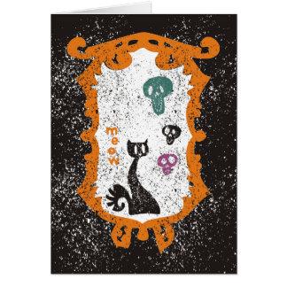 Meow - black cat - Halloween Greeting Card