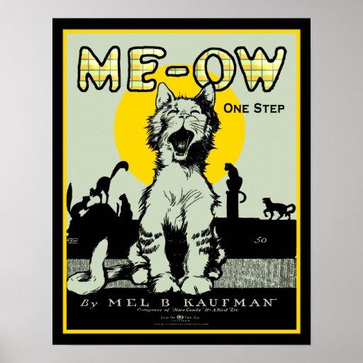 Meow Cat Art - Vintage Poster