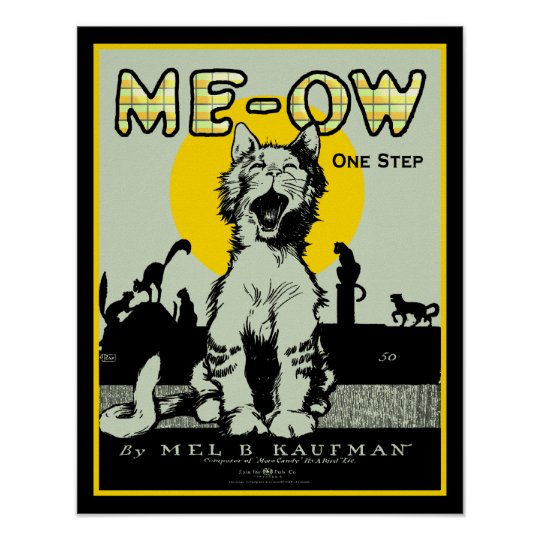 Meow Cat Art - Vintage Poster