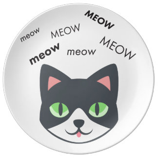 Meow Cat Cute Emoji Porcelain Plate