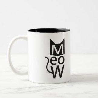 Meow Cat Typographic Two-Tone Coffee Mug