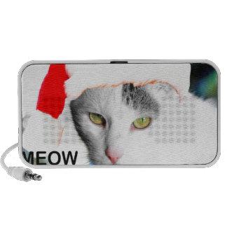 Meow Christmas Santa Hat Cat iPod Speakers