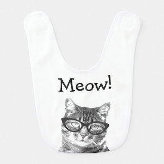 Meow! Cute cat with glasses baby bib
