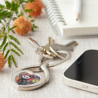 meow Dia de los Muertos Cat Silver-Colored Twisted Heart Key Ring