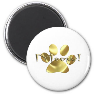 Meow Gold Cat Paw Print! Refrigerator Magnets