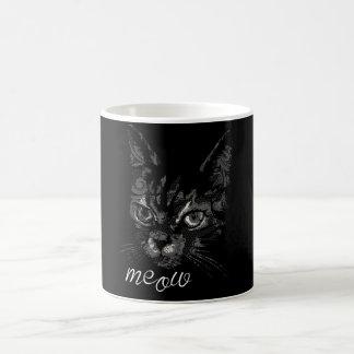 meow grey cat coffee mug
