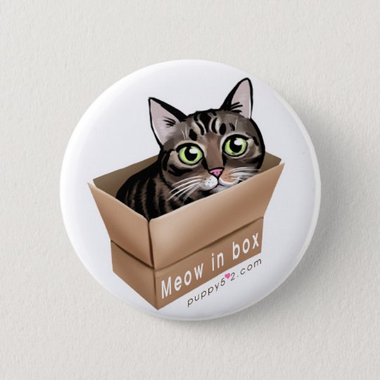 Meow in box 6 cm round badge