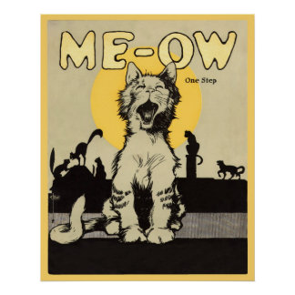 Meow Kitty Cat Cats Vintage Poster Artwork